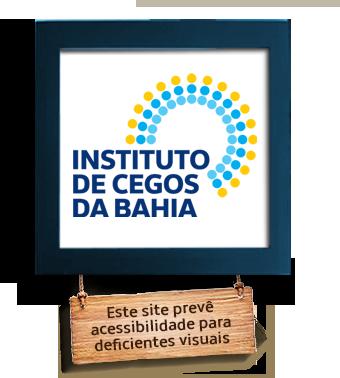 Desenho de uma moldura azul com uma placa de madeira pendurada escrito: este site prevê acessibilidade para deficientes visuais, no centro está escrito com letras azuis : Instituto de Cegos da Bahia, 85 anos.