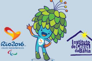 Foto: A foto tem o fundo na cor azul ciano, (da esquerda para direita) a logo dos jogos paralimpicos 2016, a figura do mascote paralimpico 2016 está ao centro e a logo do ICB no canto direito.