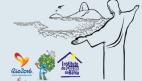 FOTO: A foto tem o fundo branco, ao centro está o desenho do Cristo Redentor acompanhado do desenho do Pão de Açúcar -pontos turísticos do Rio de Janeiro, o desenho está pintando como um rabisco a lápis.    No canto esquerdo está (da esquerda para direita a logo do jogos paralimpicos 2016, a figura do mascote paralimpico 2016 e a logo do ICB.